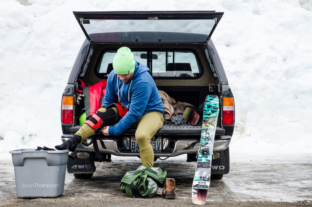 Jeff Cambell prepping for a day Stevens Pass ski area WA