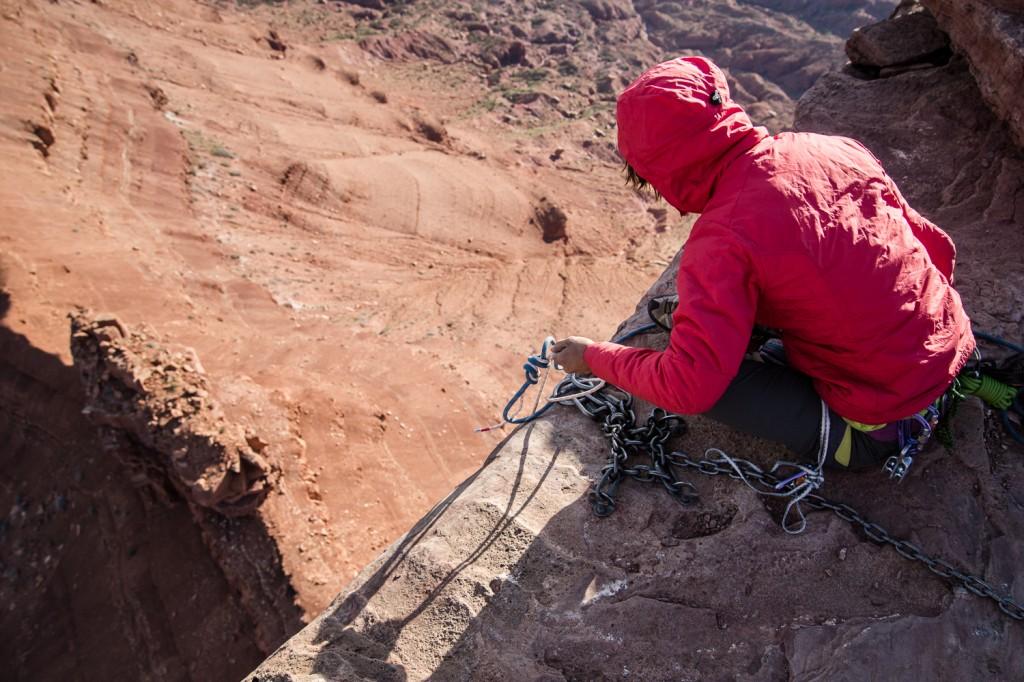 Anne Gilbert Chase climbing in the Utah desert.