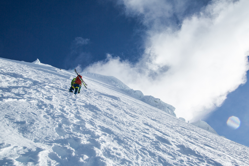 Traveling and skiing in Peru outside of Huaraz in the Cordillera Blanca.
