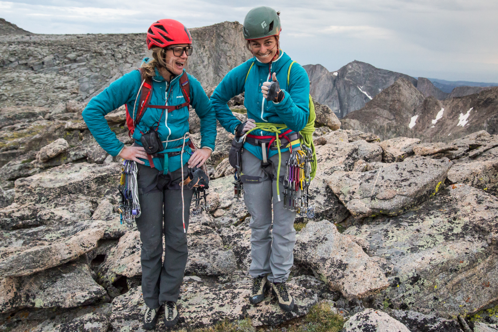 Anne Gilbert Chase and Kate Rutherford on a climbing trip to Mt Hooker in the Wind River range of Wyoming.